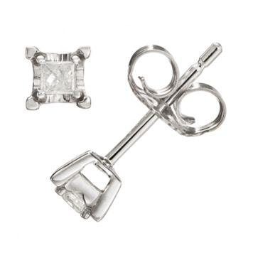 Diamond Accent 10k White Gold Stud Earrings