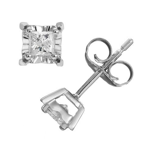 1/3 Carat T.W. Diamond 10k White Gold Stud Earrings
