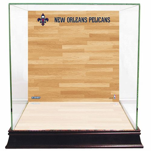 Steiner Sports Glass Basketball Display Case with New Orleans Pelicans Logo On Court Background