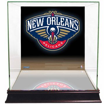 Steiner Sports Glass Basketball Display Case with New Orleans Pelicans Logo Background