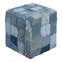 Artisan Weaver Denim Patchwork Pouf