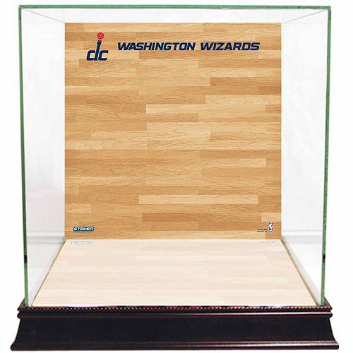 Steiner Sports Glass Basketball Display Case with Washington Wizards Logo On Court Background