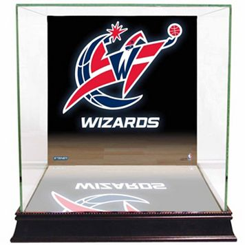 Steiner Sports Glass Basketball Display Case with Washington Wizards Logo Background