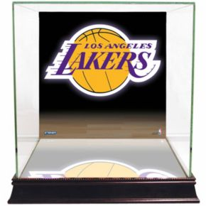 Steiner Sports Glass Basketball Display Case with Los Angeles Lakers Logo Background