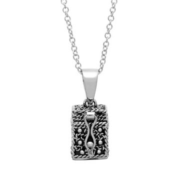 Silver Tone Prayer Keeper Box Locket Necklace