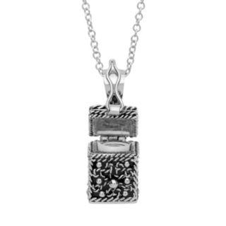 Silver Tone Prayer Keeper Box Locket Necklace