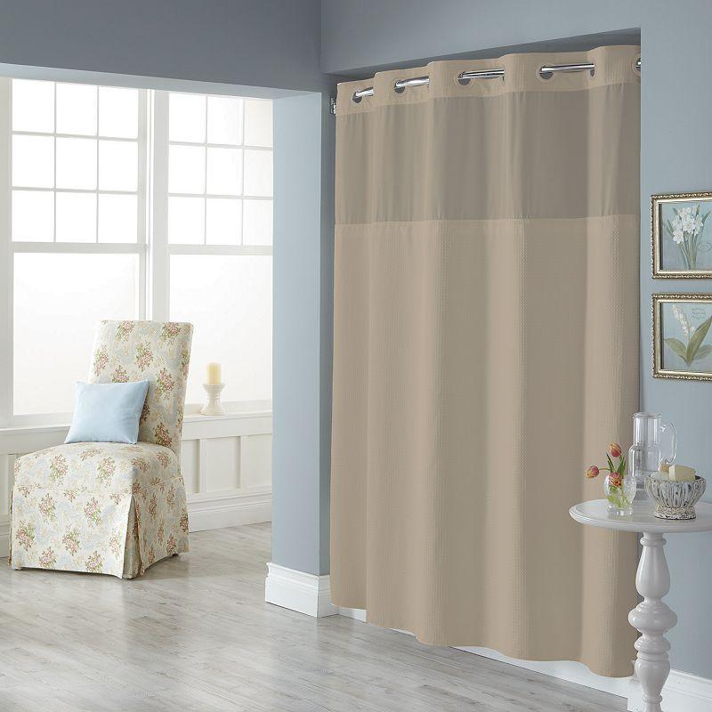 Dobby Pique Mystery Hookless Fabric Shower Curtain, Beig/Green, 71X74