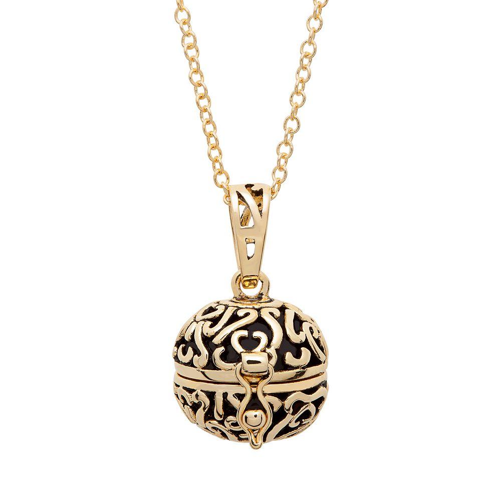 10k Gold-Plated Prayer Keeper Ball Locket Necklace