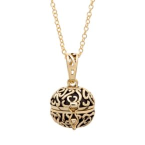 10k Gold-Plated Prayer Keeper Ball Locket Necklace