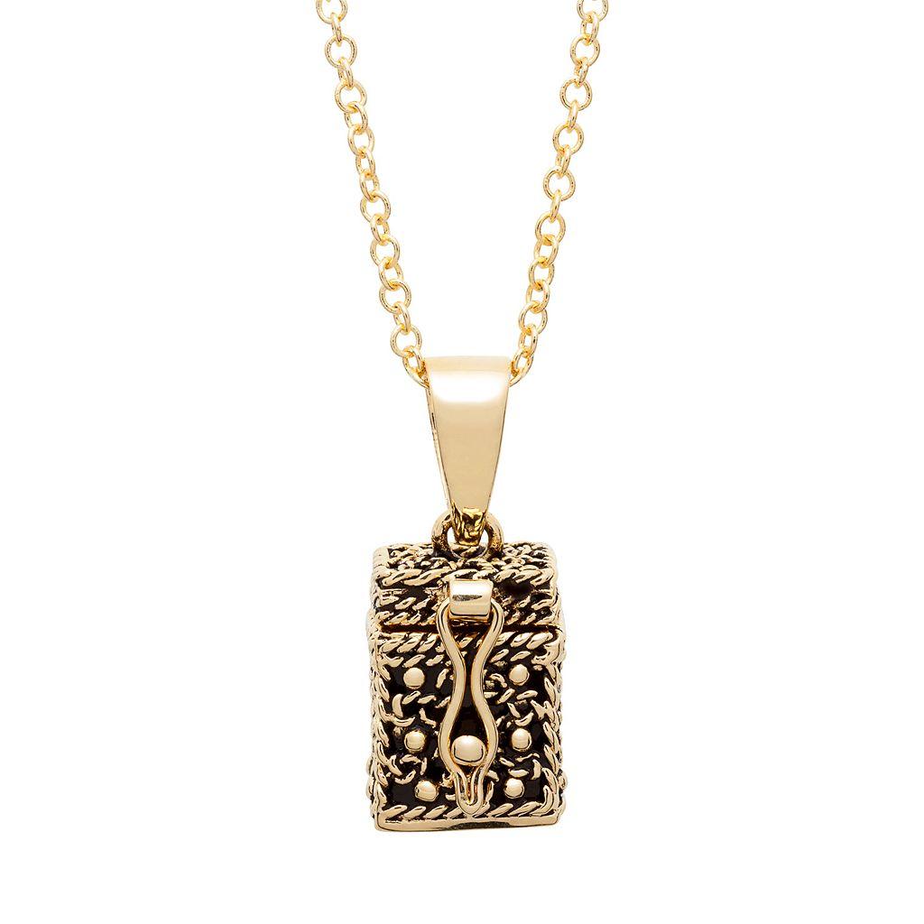 10k Gold-Plated Prayer Keeper Box Locket Necklace
