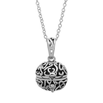 Silver Tone Prayer Keeper Ball Locket Necklace