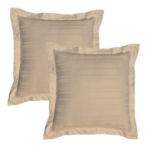 Pointehaven 510-Thread Count Striped Pima Cotton Sateen 2-pk. Euro Shams