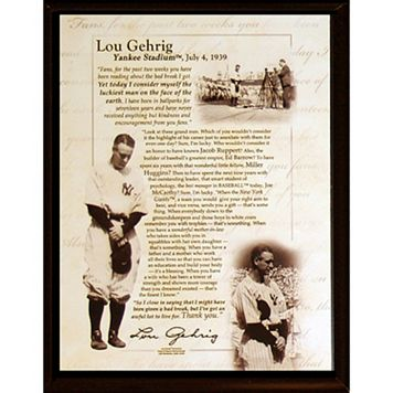 Steiner Sports New York Yankees Lou Gehrig Luckiest Man Farwell Speech 8