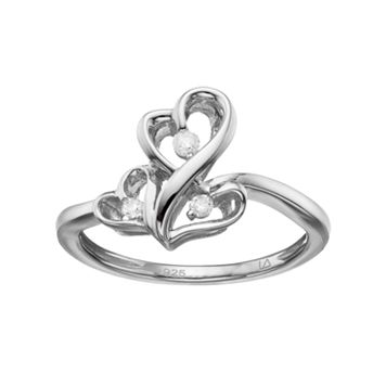 Love Is Forever Sterling Silver Diamond Accent Triple Heart Ring