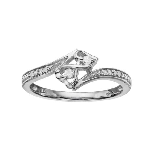 Love Is Forever Sterling Silver Diamond Accent Double Heart Ring