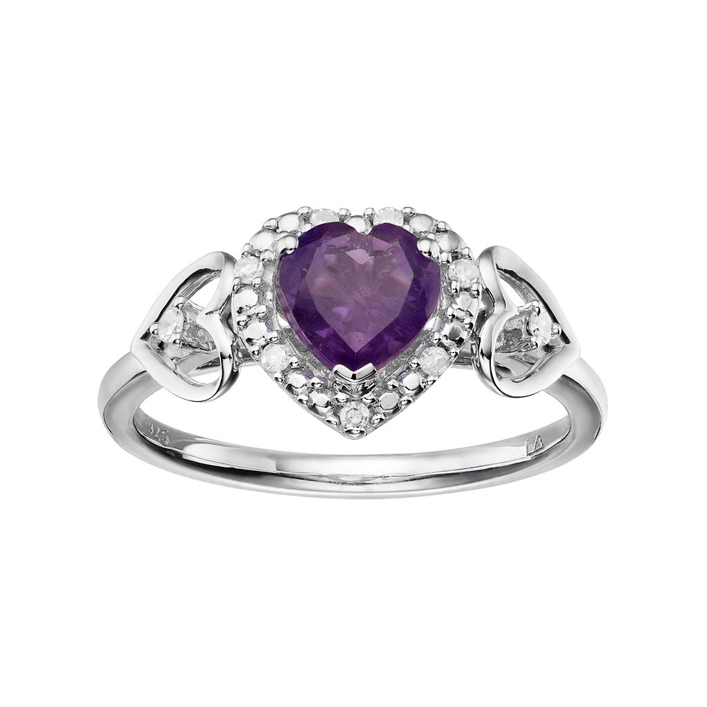 Love Is Forever Sterling Silver Amethyst & Diamond Accent Heart Halo Ring