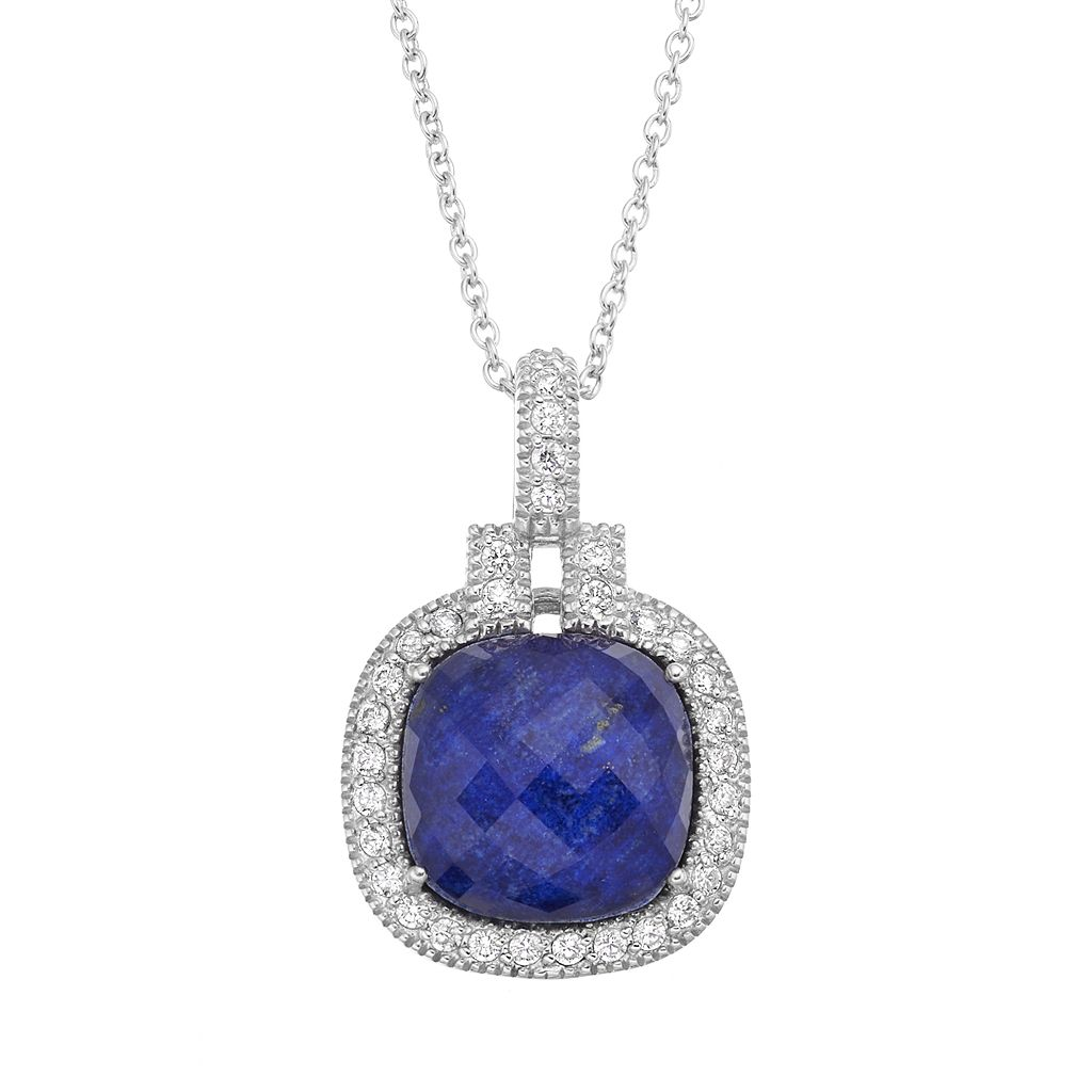 SIRI USA by TJM Lapis Lazuli & Crystal Doublet, & Cubic Zirconia Sterling Silver Cushion Halo Pendant Necklace