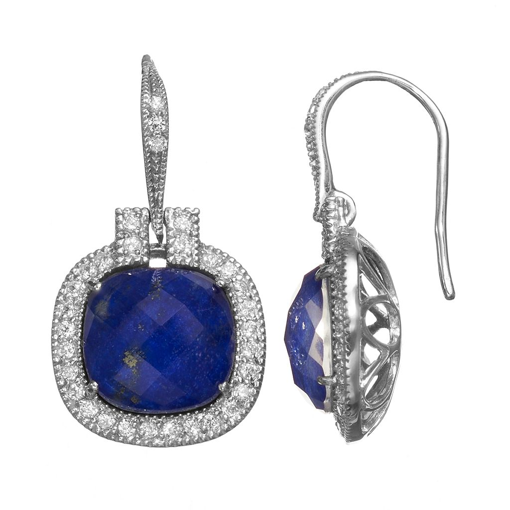 SIRI USA by TJM Lapis Lazuli & Crystal Doublet, & Cubic Zirconia Sterling Silver Cushion Halo Drop Earrings