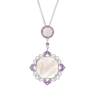 SIRI USA by TJM Rose Quartz and Amethyst Sterling Silver Filigree Pendant Necklace