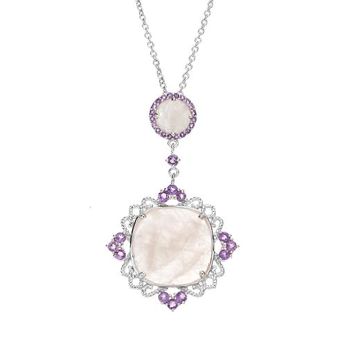 SIRI USA by TJM Rose Quartz & Amethyst Sterling Silver Filigree Pendant Necklace