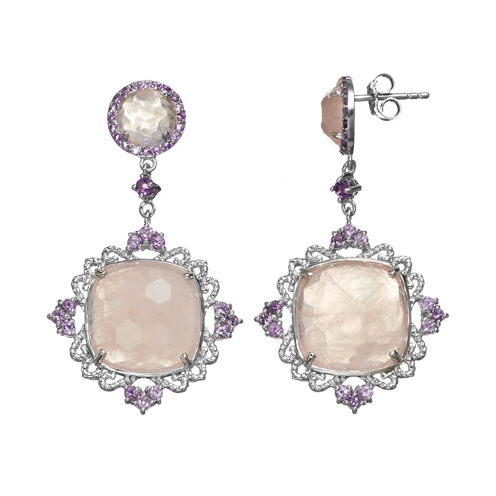 SIRI USA by TJM Rose Quartz & Amethyst Sterling Silver Filigree Drop Earrings