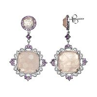 SIRI USA by TJM Rose Quartz & Amethyst Sterling Silver Filigree Drop Earrings