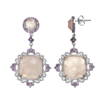 SIRI USA by TJM Rose Quartz and Amethyst Sterling Silver Filigree Drop Earrings