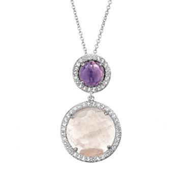 SIRI USA by TJM Gemstone Sterling Silver Halo Pendant Necklace