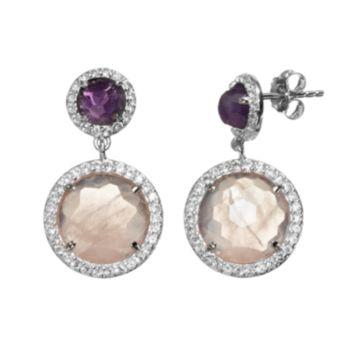 SIRI USA by TJM Gemstone Sterling Silver Halo Drop Earrings