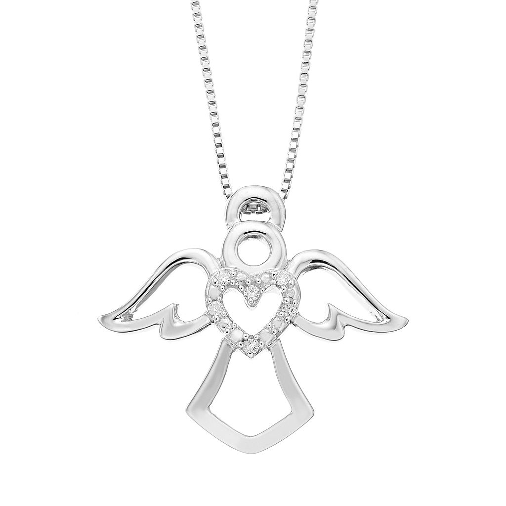 Timeless Sterling Silver Diamond Accent Heart & Angel Pendant Necklace