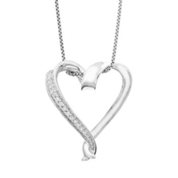 Timeless Sterling Silver Diamond Accent Heart Pendant Necklace