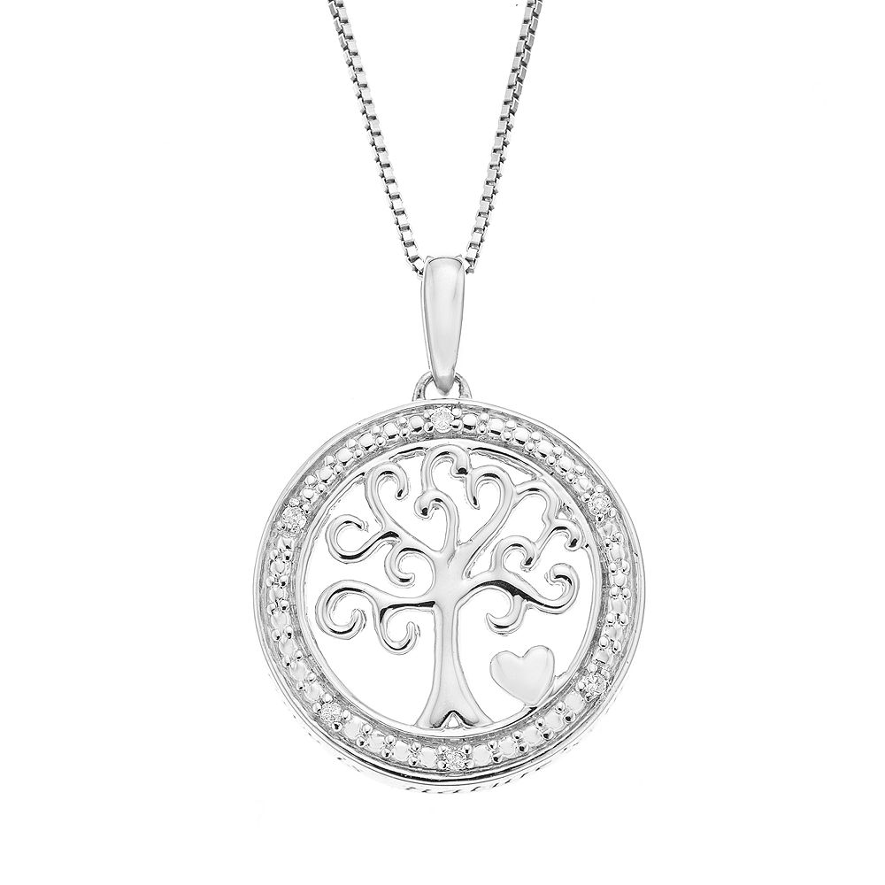Timeless Sterling Silver Diamond Accent Sterling Silver Family Tree Pendant Necklace