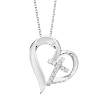 Timeless Sterling Silver Diamond Accent Cross & Heart Pendant Necklace