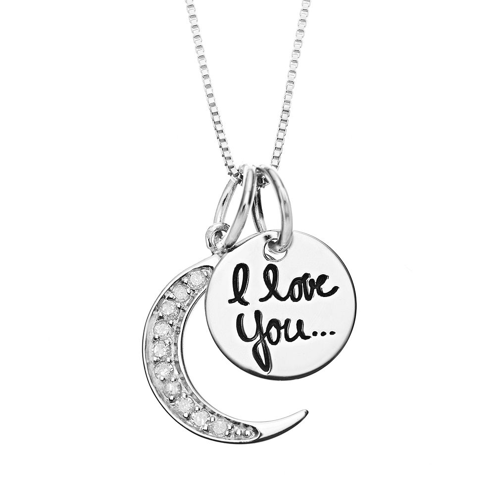 "Timeless Sterling Silver 1/10 Carat T.W. Diamond ""I Love You to the Moon"" Pendant Necklace"