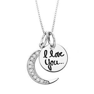 """Timeless Sterling Silver 1/10 Carat T.W. Diamond """"I Love You to the Moon"""" Pendant Necklace"""