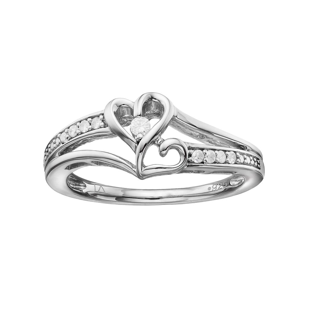 Love Is Forever Sterling Silver 1/10 Carat T.W. Diamond Double Heart Ring