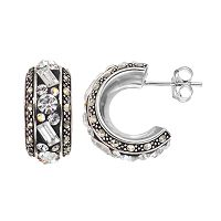 Marcasite & Crystal Sterling Silver Semi-Hoop Earrings