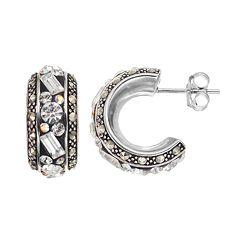 Marcasite & Crystal Sterling Silver Semi-Hoop Earrings