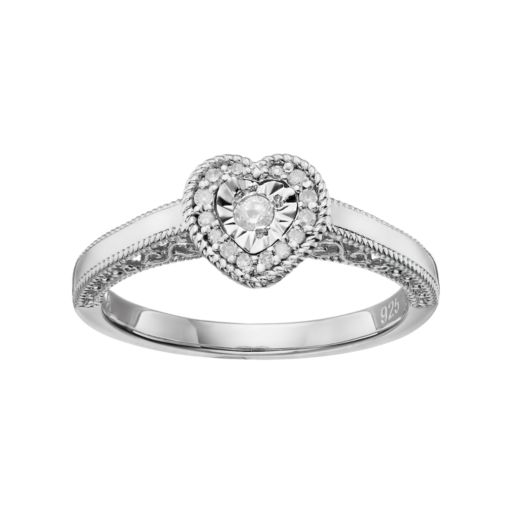 Love Is Forever Sterling Silver 1/8 Carat T.W. Diamond Heart Halo Ring