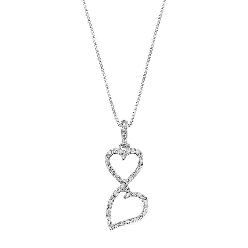 Love Is Forever Sterling Silver 1/8 Carat T.W. Diamond Double Heart Pendant Necklace