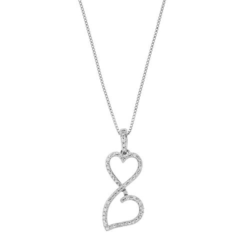 Love Is Forever Sterling Silver 1/10 Carat T.W. Diamond Double Heart Pendant Necklace