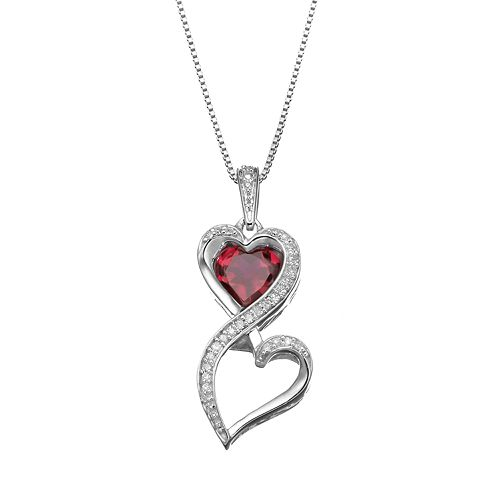 Love Is Forever 1/10 Carat T.W. Diamond & Lab-Created Ruby Sterling Silver Double Heart Pendant Necklace