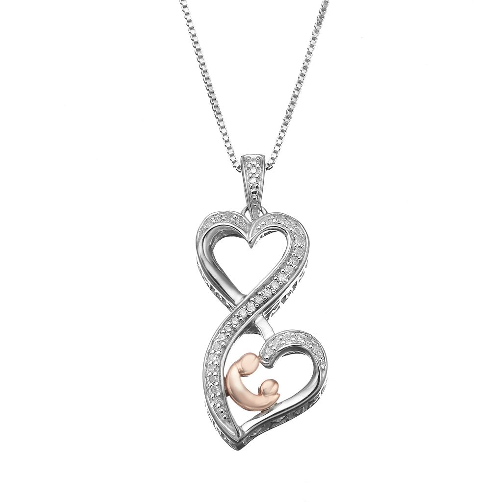 Love Is Forever 1/10 Carat T.W. Diamond Sterling Silver & 14k Rose Gold Over Silver Double Heart Motherly Love Pendant Necklace