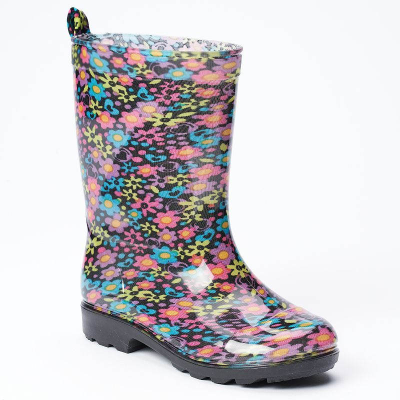 Floral Jelly Rain Boots - Girls (Black)