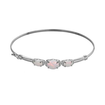 Lab-Created Opal & Lab-Created White Sapphire Sterling Silver Bangle Bracelet