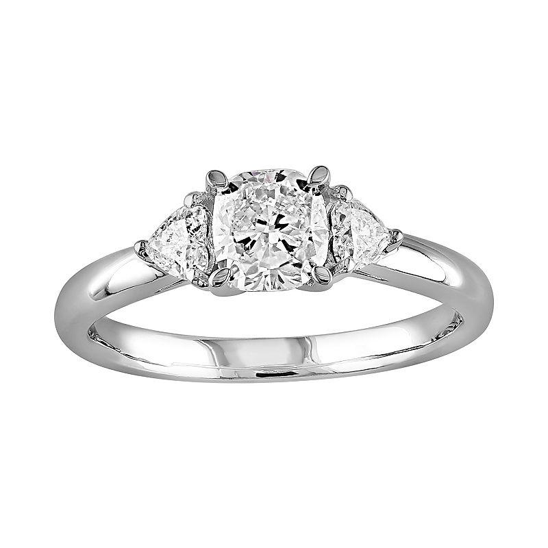 Diamond 3-Stone Engagement Ring in 14k White Gold (9/10 Carat T.W.)