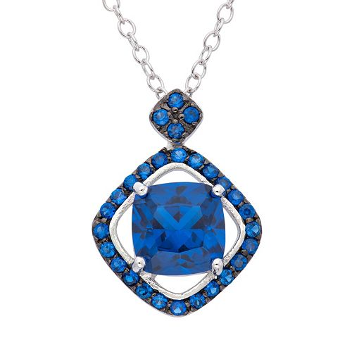 Sapphire Sterling Silver Frame Pendant Necklace