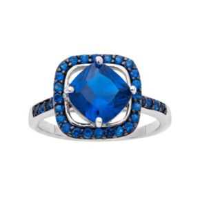 Sapphire Sterling Silver Frame Ring