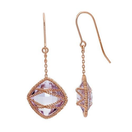 Amethyst 18k Rose Gold Over Silver Chain-Wrapped Drop Earrings