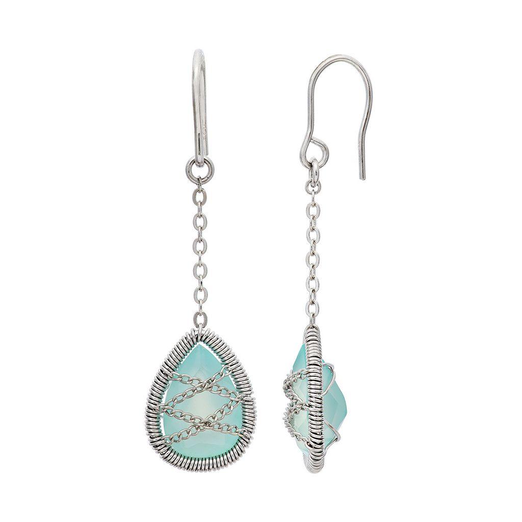 Chalcedony Sterling Silver Chain-Wrapped Teardrop Earrings